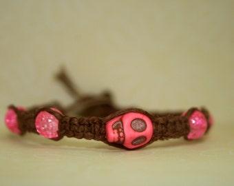 Natural Brown Hemp Bracelet with Pink Skull
