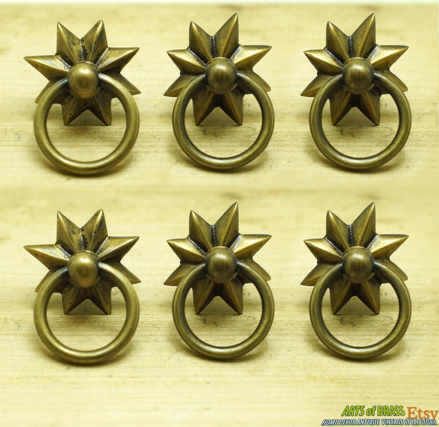 Lot of 6 pcs vintage western star ring pull hardware cabinet for Star cabinet pulls