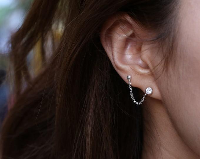 CZ diamond cartilage chain earring  EE014