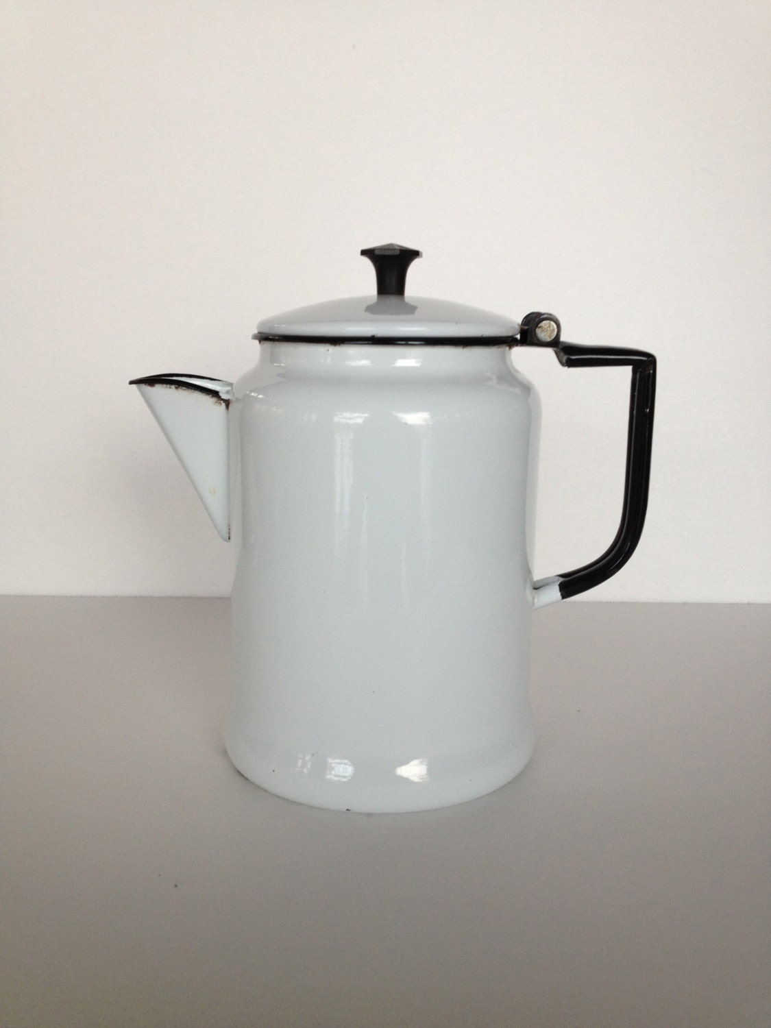 Enamel Coffee Tea Pot In Black And White Americana Charming