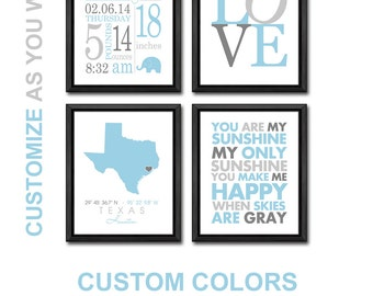 baby boy room decor, subway art birth announcement, baby birth stats, baby boy nursery, baby gifts personalized, baby decor, baby stats art