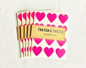 48 Bright Pink Mini Heart Stickers - 3/4 Inch Envelope Seals Small Gift Wrapping Party Invitations Embellish Pretty Packaging