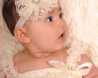 Baby headband, Cream lace flower headband, baby girl headband, girl headband, flower girl, flower headband, infant headband, cream headband
