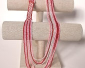 Beaded 9 string, 3 color handmade bead loom 13-inch necklace