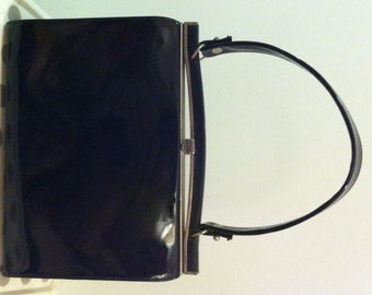 1950s Black Patent Triangle New York Handbag Vintage