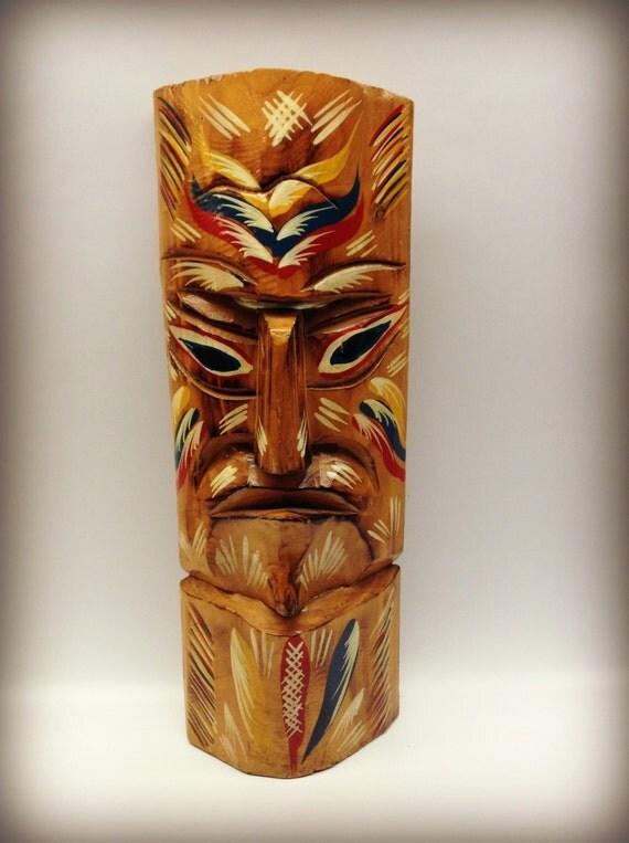 Vintage tiki hand carved painted hawaiian statue tribal wood