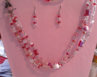 3 Pc. Pink & White Plastic Bead Set