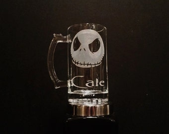Personalized Jack Skellington Mug - Nightmare Before Christmas Mug - DEEP ETCHED Jack Skellington Beer Mug - Halloween