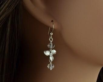 Silver Crystal Earrings, Sweet Pea, Flower Earrings, Garden Wedding Jewelry, Swarovski Crystals, Maid Of Honor, Modern Minimalist, M1021