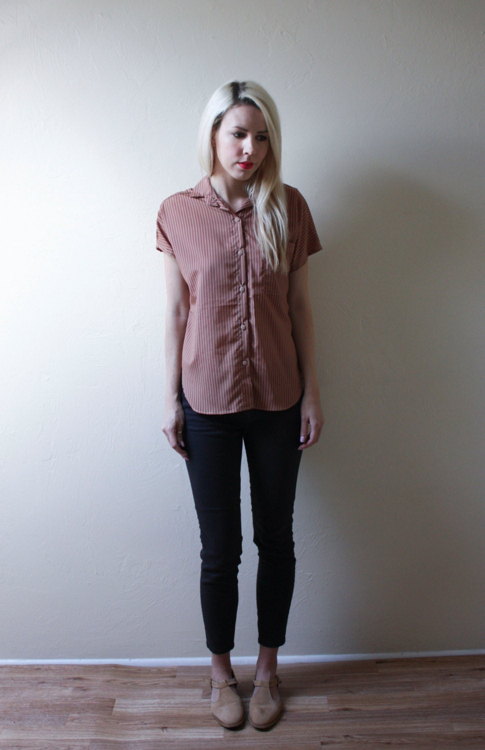 SALE: Tan and Red Striped Cap Sleeve Button Up Top with Pocket // Shirt // Blouse