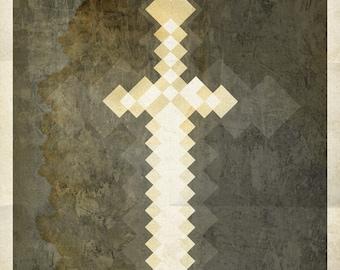 01-MC Minecraft Sword Poster Print