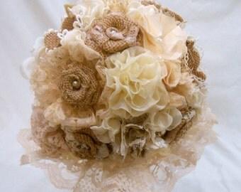 Burlap Wedding Bouquet, Bridal Bouquet, Fabric Bouquet, Burlap Bouquet, Rustic Bouquet, Vintage Bouquet, Burlap and Lace,