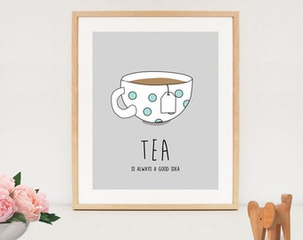 Popular Items For Tea Quote Print On Etsy