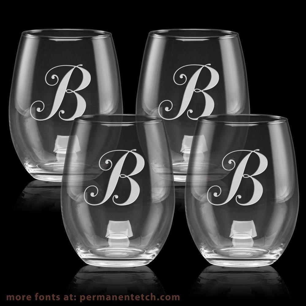15oz luminarc stemless wine glasses with etched. Black Bedroom Furniture Sets. Home Design Ideas