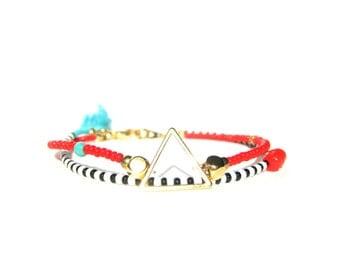 Stackable Seed Bead Bracelet with Tassel Tribal Bracelet Gold Triangle Bracelet Geometric Bracelet Beaded Bracelet for women