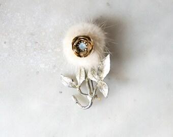 Vintage Fur and Diamante Flower Brooch