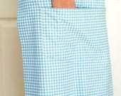 French bistro style, aqua blue check long half apron