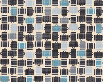 Suitcases Fabric - Baggage Claim - Detour by BoBunny for Riley Blake Designs C3633 Cream - 1/2 yard