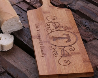 Personalized Wood Cutting Bread Cheese Chopping  Board Engraved and Monogrammed Family Name (024864)