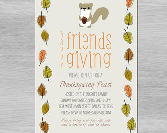 Friendsgiving Thanksgiving squirrel fall party invitation - (digital/printable file)