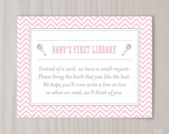 Awesome Pink Chevron Book Request Card, Pink Itu0027s A Girl Baby Shower Bring A Book  Invitation