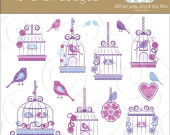 Ornate birdcages, love birds, floral birdcage clipart graphics, royalty free, commercial use. Instant download.