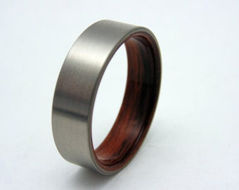Mens ring, Rosewood and titanium wedding band, wood ring waterproof sealed