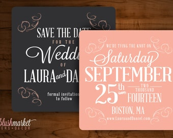 Vintage Coaster Save the Date Typography