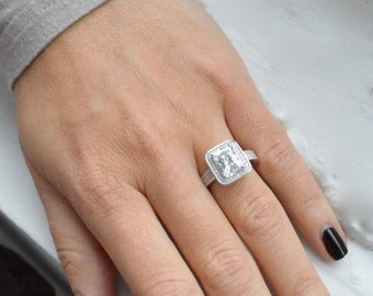 Emerald Cut Engagement Ring - Micro Pave Halo Engagement Ring - Cubic  Zirconia Promise Ring - Valentine\'s Day
