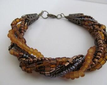 beaded bracelet, twisted beaded bracelet, 7 strand beaded bracelet
