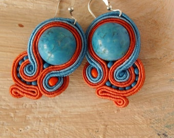 EYE of the OCEAN Soutache Earrings with Blue Howlite- Antidotum- Craftwork- Handmade- Soutache Jewellery