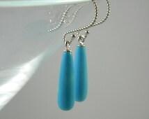 Blue Dyed White Turquoise Teardrop Earrings, Southwest, Teardrop Earrings, Sterling Silver Hooks, Semi precios gemstones, Womens Earrings