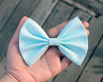 "4.5"" light mint hair bow clip, pastel blue hair bow, mint blue hair bow for teens, women hair bow, fabric bow, pastel hair bow"