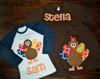 Brother Sister Sibling Set- Turkey Applique Outfits- Perfect for Family Pictures