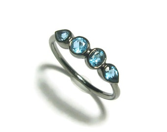 Aquamarine Birthstone Oxidized Sterling Silver Ring, 4 Stone Ring, Ready to Ship, Size 6