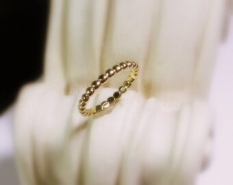 Wedding Band 18K Gold, Women, Dotted Stacking Ring, Yellow, White, and Rose Gold, Made to Order