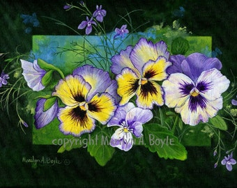 ORIGINAL ACRYLIC PAINTING;free shipping for Can. and States,9 x 12 inches, pansies,garden, Canadian art, wall art,