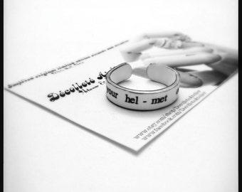 Put Your Helmet On Ring - Upcycled Shrink Film Ring - Handmade Custom Unisex Ring