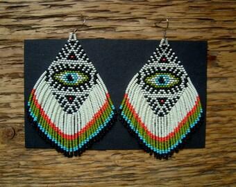 The Seeing Eye...Large Beaded Fringe Earrings