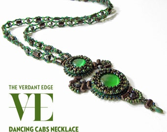Dancing Cabs Necklace Materials Kit for pattern in June/July 2014 Beadwork Magazine in green and dark bronze with rulla and rizo beads