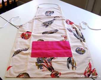 Reversible Adjustable Apron - Vegetable/pink vintage style apron
