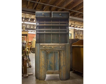 Vintage Shabby Chic Rustic Painted Blue Russian Kitchen Cupboard