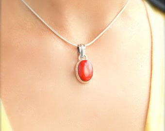 Simple Red Coral Pendant