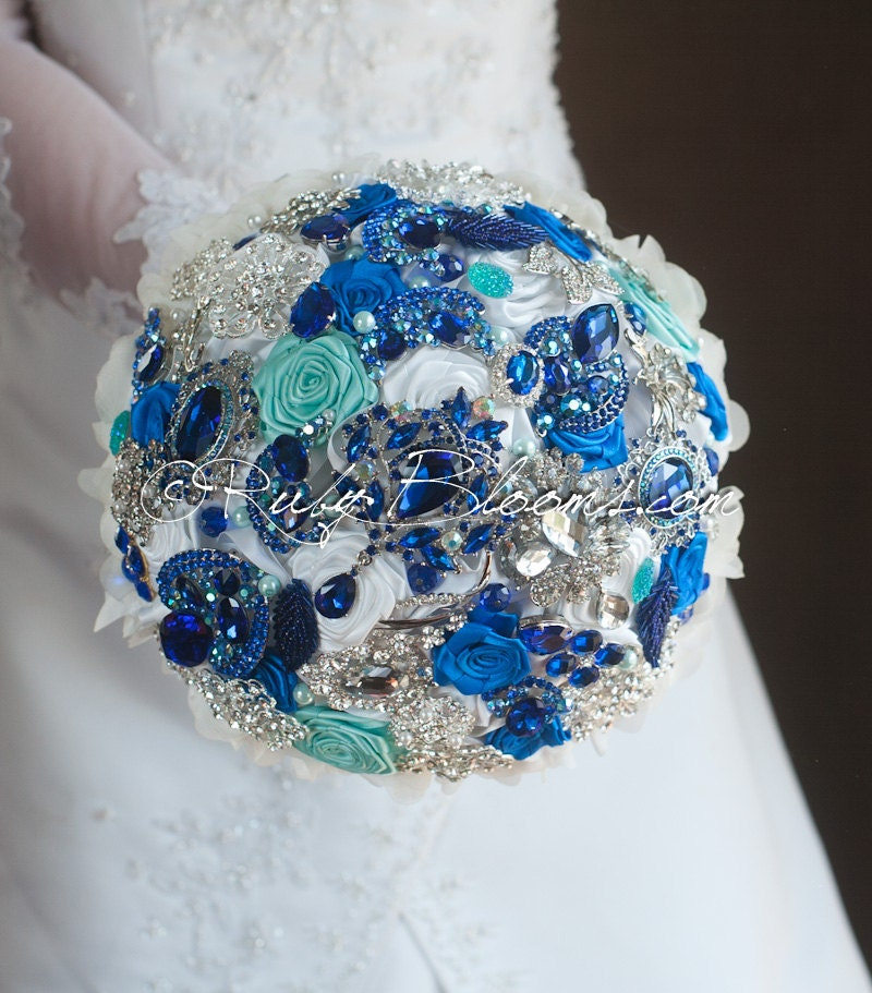 Aqua Royal Blue Wedding Brooch Bouquet. Tropical By