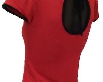Rockabilly 50s pinup Ladies cutout back Tshirt