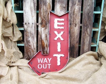 Vintage Red White Exit Way Out Curved Arrow Marquee Sign,man cave,home decor,arrow,vintage sign,vintage arrow sign