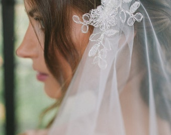 Bridal  veil,  Juliet cap veil, lace cap veil with embroidered lace trim--JANE