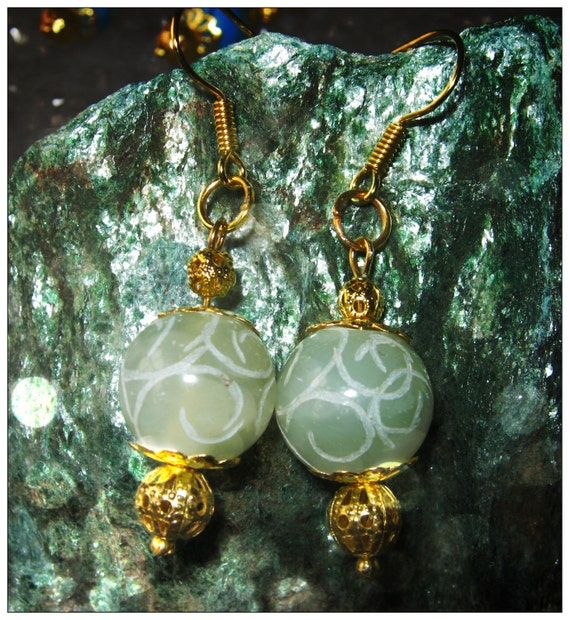 Handmade Gold Hook Earrings with Carved Green Old Jade by IreneDesign2011
