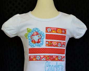 Personalized 4th of July Flower Flag Applique Shirt or Onesie Girl Boy