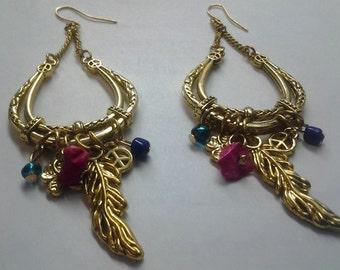 Boho Chic Gypsy Goldtone Earrings, Hippie Bohemian Earrings, Colorful Bead Earrings, Bohemian Fashion, Bohemian Earrings Gold, Gypsy Style